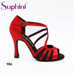 Free Shipping Suphini Competition 10cm Heel RED Latin Dance Shoes Woman Dance Shoes