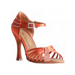 Suphini Classic design orange satin 10cm high heel professional latin salsa sandal