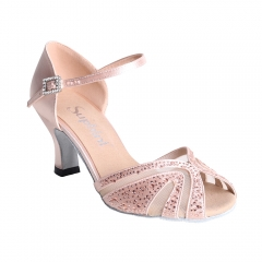 Suphini 2019 new design handmade pink satin with rhinestones strap style latin salsa dance shoes