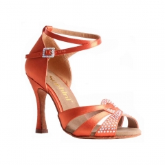 Suphini Classic design 10cm orange satin high heel professional latin salsa sandal