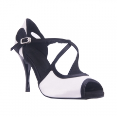 Suphini White&Black Satin Open Toe Ballroom Argentina 9 cm Heel Dance Shoes