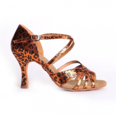 Suphini Free Shipping New Material Leopard Print Skin 7.5cm Salsa Latin Strap Salsa Dance Shoes