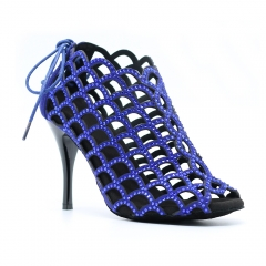 New Arrivals Blue Microfiber 9cm Tango Boots High Thin Heel Latin Salsa Dance Shoes Party Social Dance Boots