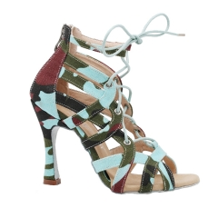Free Shipping Suphini 10cm Heel Sexy Cool Girl Green Camouflage Fabric Ankle Lace-Up Latin Salsa Dance Boots