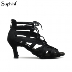 Free Shipping Suphini Low Heel Black Nubuck Lace Up Open Toe Party Dance Bootie