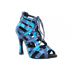 Free Shipping Suphini 10cm Heel Sexy Cool Blue Camouflage Fabric Ankle Lace-Up Latin Salsa Dance Boots