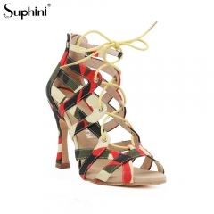 Free Shipping Suphini 10cm Heel Sexy Cool Orange Camouflage Fabric Ankle Lace-Up Latin Salsa Dance Boots