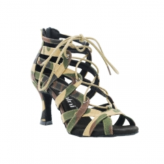 Free Shipping Suphini 7.5cm Heel Sexy Cool Girl Army Green Camouflage Fabric Ankle Lace-Up Latin Salsa Dance Boots