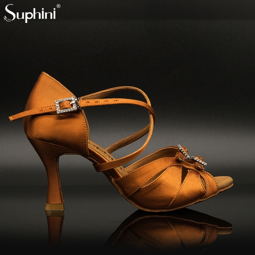 Suphini Bronze satin gloss luxury high heel latin salsa dancing sandals