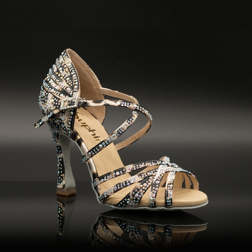 【Cheetah】Crystal Strappy 10cm Flare Heel Sandals